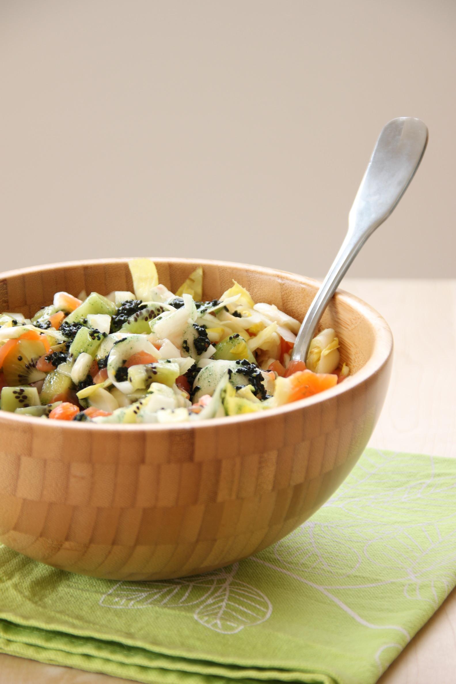 Salade bio express et vinaigrette à la spiruline