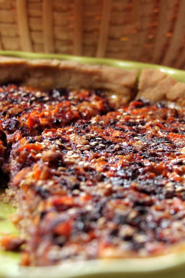 Tarte aux carottes violettes et tofu fumé