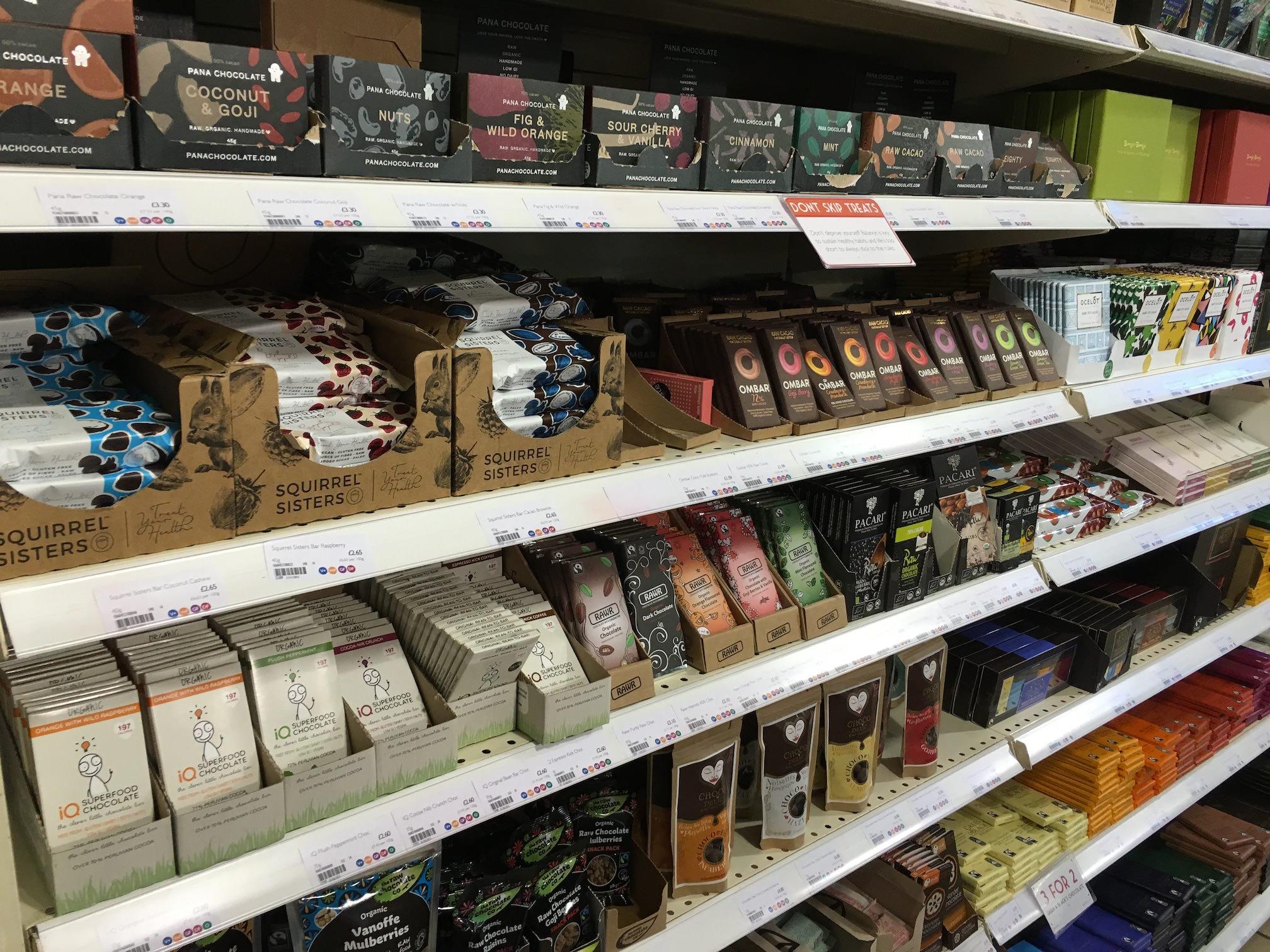 Rayon des chocolats crus bio planet organic